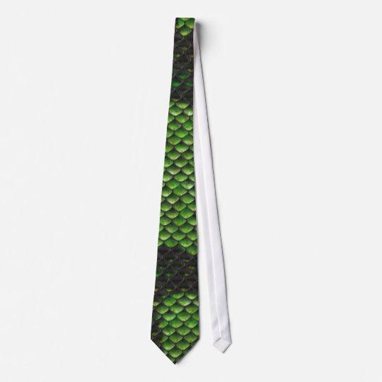 Printed Fake Green Snake Skin Camo Style Design Neck Tie