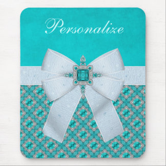 Printed Faux Bow & Aquamarine & Silver Jewels Mouse Pad