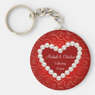 Printed Faux pearl red and gold anniversary Basic Round Button Keychain