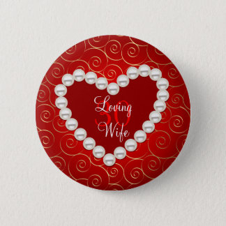 Printed Faux pearl red and gold anniversary Button