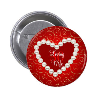 Printed Faux pearl red and gold anniversary Buttons