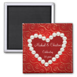 Printed Faux pearl red and gold anniversary Fridge Magnet