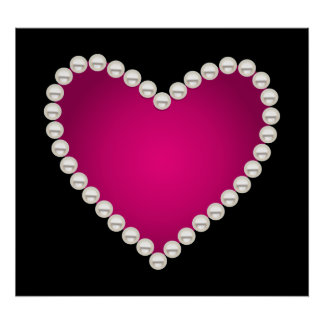 Printed faux pearls and pink heart poster
