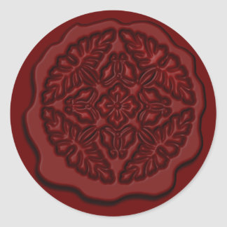 Printed Faux Wax Seal, Red Classic Round Sticker
