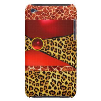 PRINTED GIRAFFE LEOPARD SKIN RED RUBY GEMSTONE iPod TOUCH CASE