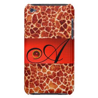 PRINTED GIRAFFE SKIN RED RUBY GEMSTONE MONOGRAM, Case-Mate iPod TOUCH CASE