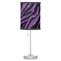 Printed Glitter Effect Purple Zebra Animal Print Desk Lamp