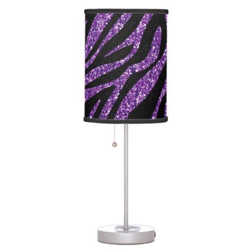 Printed glitter effect purple zebra animal print lamp zazzle