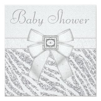 Printed Glitter Zebra Print & Bling Baby Shower Card