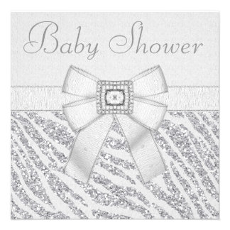 Printed Glitter Zebra Print Bling Baby Shower Personalized Announcements