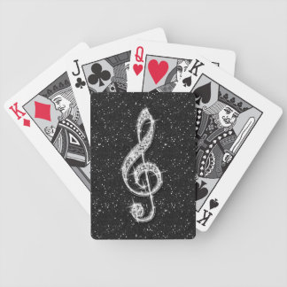Printed Glitzy Sparkly Diamond Music Note Bicycle Playing Cards