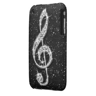 Printed Glitzy Sparkly Diamond Music Note iPhone 3 Covers