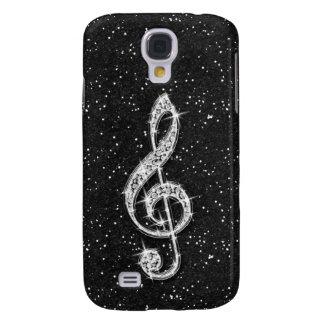Printed Glitzy Sparkly Diamond Music Note Galaxy S4 Covers