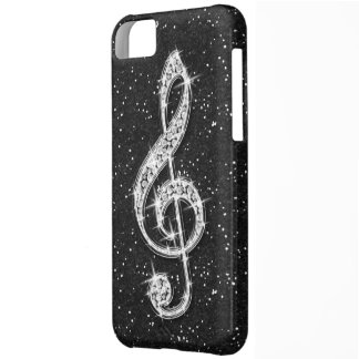 Printed Glitzy Sparkly Diamond Music Note Case For iPhone 5C