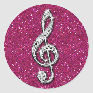 Printed Glitzy Sparkly Diamond Music Note Classic Round Sticker
