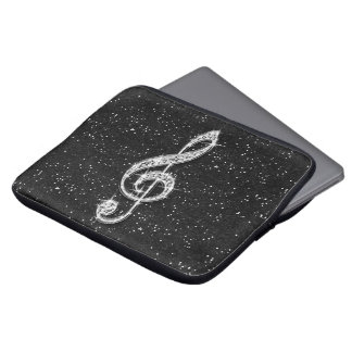 Printed Glitzy Sparkly Diamond Music Note Computer Sleeve