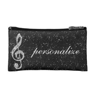 Printed Glitzy Sparkly Diamond Music Note Cosmetic Bag