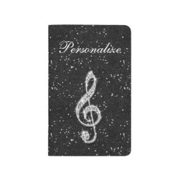Printed Glitzy Sparkly Diamond Music Note Journal