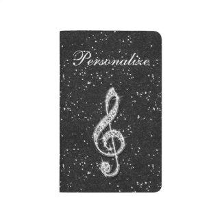 Printed Glitzy Sparkly Diamond Music Note Journal