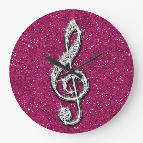 Printed Glitzy Sparkly Diamond Music Note Large Clock