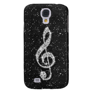 Printed Glitzy Sparkly Diamond Music Note Samsung Galaxy S4 Cover