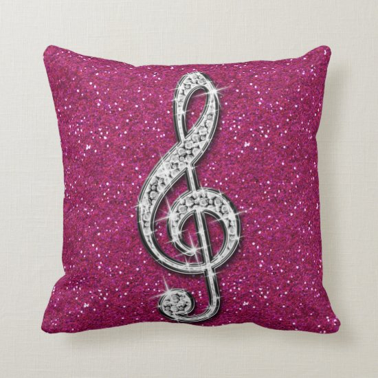 Printed Glitzy Sparkly Diamond Music Note Throw Pillow