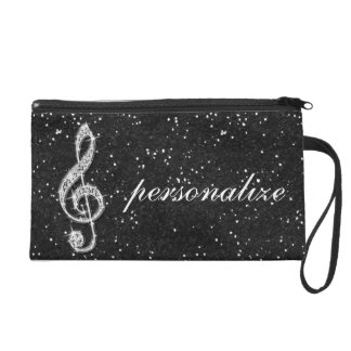 Printed Glitzy Sparkly Diamond Music Note Wristlet Purse