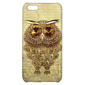 Printed Gold & Amber Owl Jewel iPhone 5C Cover