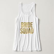"Printed Gold ""Bride Squad"" Bridesmaids Tank Top"