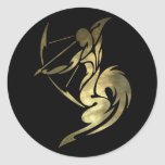 Printed Gold Color Sagittarius Archer Round Stickers