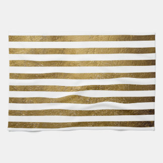printed gold color stripes hand towel