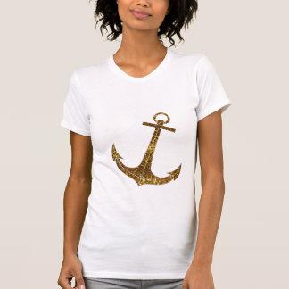 Printed Gold Glitter Anchor Nautical T Shirt