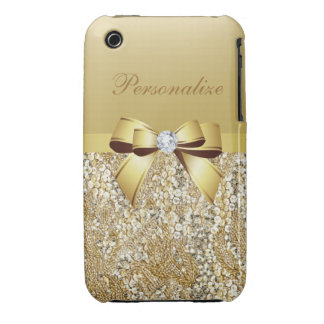 Printed Gold Sequins, Bow & Diamond iPhone 3 Case