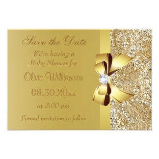 Printed Gold Sequins Save the Date Baby Shower Personalized Announcements