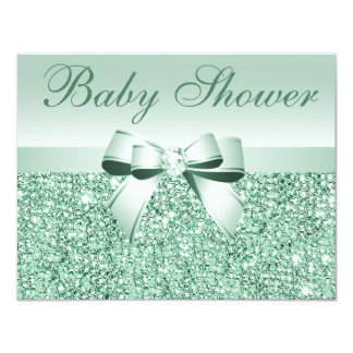 Printed Green Sequins, Bow & Diamond Baby Shower Card