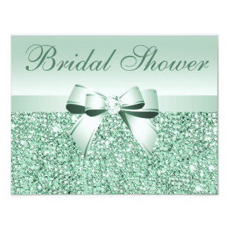 Printed Green Sequins, Bow & Diamond Bridal Shower Card