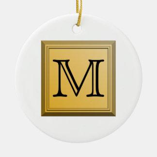Printed image of a custom monogram design. ceramic ornament