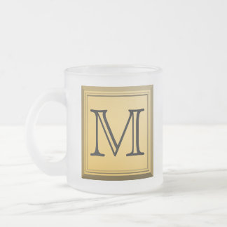 Printed image of a custom monogram design. frosted glass coffee mug