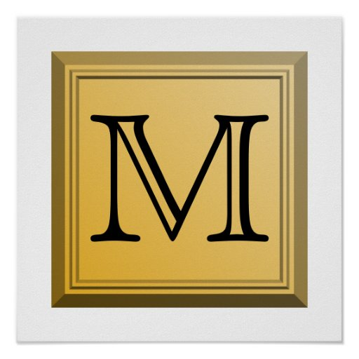 Printed image of a custom monogram design. poster