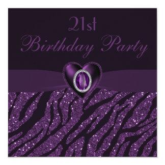 Printed Jewel Heart & Zebra Glitter 21st Birthday Card
