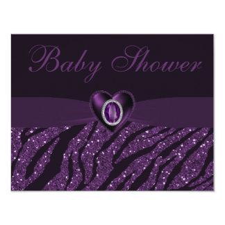 Printed Jewel Heart & Zebra Glitter Baby Shower 4.25x5.5 Paper Invitation Card