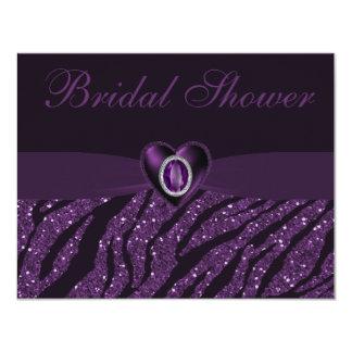 Printed Jewel Heart & Zebra Glitter Bridal Shower 4.25x5.5 Paper Invitation Card