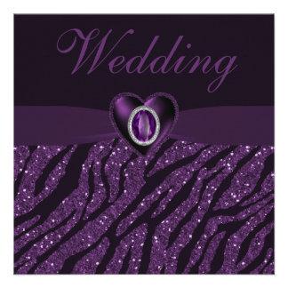 Printed Jewel Heart Zebra Glitter Wedding Invite