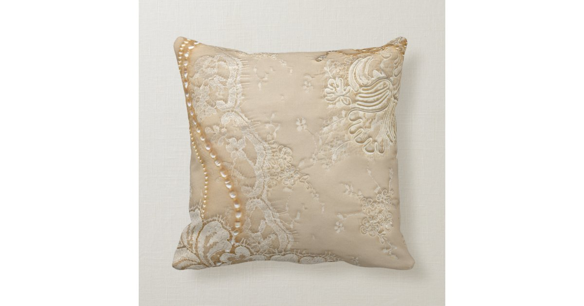 Printed Lace Pearls Decorative Throw Pillow Zazzle
