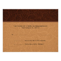 Printed Leather Wedding RSVP Invite