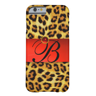 PRINTED LEOPARD FUR RED RUBY GEMSTONE MONOGRAM, BARELY THERE iPhone 6 CASE