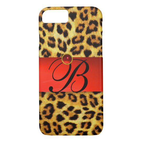 PRINTED LEOPARD FUR RED RUBY GEMSTONE MONOGRAM, iPhone 8/7 CASE