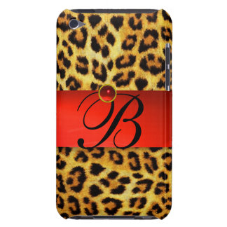PRINTED LEOPARD FUR RED RUBY GEMSTONE MONOGRAM, iPod TOUCH COVER