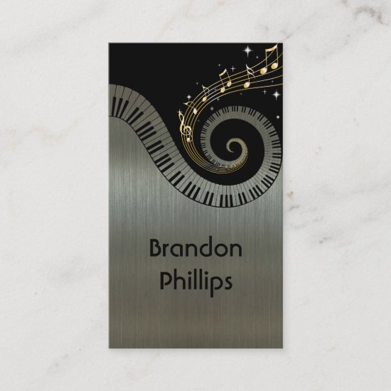 Printed Metallic Effect Piano Keys Gold Music Business Card