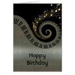 Printed Metallic effect Piano Keys Gold Music Greeting Cards